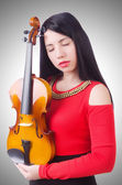 Young girl with violin — Stock Photo