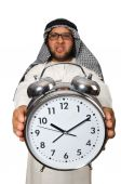 Arab man with clock — Stockfoto