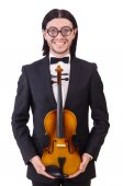 Funny man with music instrument on white — Stock Photo