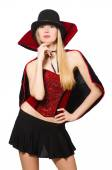 Woman magician isolated on white — Stock Photo