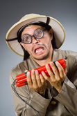 Funny safari hunter against background — Stock Photo