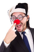 Funny clown businessman isolated on the white background — Stock Photo