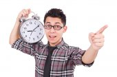 Man with clock trying to meet the deadline — Stockfoto