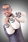 Man with money sacks — Stock Photo