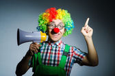 Clown with loudspealer — Stock Photo
