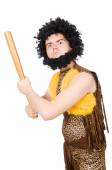 Funny cave man with baseball bat isolated on white — Stock Photo