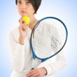 Young girl with tennis racket and bal — Stock Photo #58270239