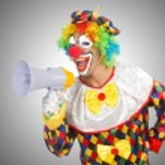 Clown with loudspeaker — Stock Photo #58272357