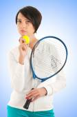 Young girl with tennis racket and bal — Photo