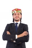 King businessman isolated on the white — Stock Photo