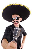 Funny man wearing mexican sombrero hat isolated on white — Stockfoto