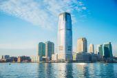 Skyline of Jersey City on bright summer day — Stock Photo
