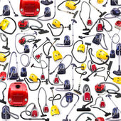 Background made of many vacuum cleaners on white — 图库照片