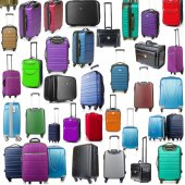Background made of many suitcases on white — Stockfoto