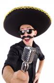 Funny man wearing mexican sombrero hat isolated on white — Stock Photo