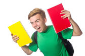 Angry student with books isolated on white — Stock Photo