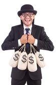 Man with sacks of money isolated on white — Stock Photo