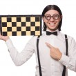 Nerd chess player isolated on white — Stock Photo #59167333
