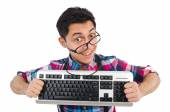 Computer nerd with keyboard — Stock Photo