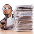 Businessman with stack of papers — Stock Photo #59176869