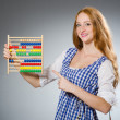 Young woman with abacus in school education concept — Stockfoto #59178057