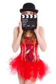 Young fairy with clapperboard isolated on white — Stock Photo