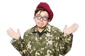 Funny soldier isolated on white — Stock Photo