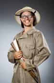 Funny safari hunter with rifle — Stock Photo