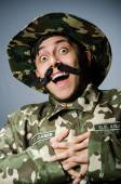 Funny soldier in military concept — Stock Photo