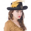 Woman pirate in hat with feather — Stock Photo #59185849