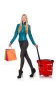 Woman after the christmas shopping — Stock Photo