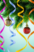 Weihnachtsdekoration auf die Tanne — Stockfoto