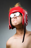 Funny nerd boxer in sport concept — Stock Photo