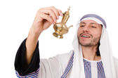 Arab man with lamp isolated on white — Stock Photo
