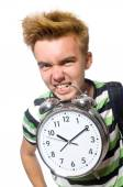 Student with a clock — Stock fotografie