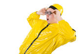 Man in yellow suit isolated on white — Stock Photo