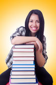 Girl student with books — Stock Photo