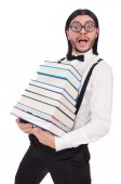 Funny student with books isolated on white — Stock Photo