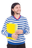 Funny student with books isolated on white — Photo