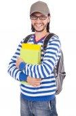 Student z książek na białym tle — Zdjęcie stockowe