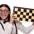 Nerd chess player isolated on white — Stock Photo #59671105