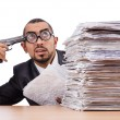 Businessman with stack of papers — Stock Photo #59676695