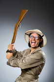 Funny safari hunter with rifle — Stockfoto