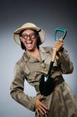 Funny safari hunter against background — Foto de Stock
