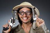Funny safari hunter against background — Stock fotografie