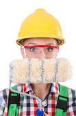 Funny woman painter in construction concept isolated on white — Stock Photo