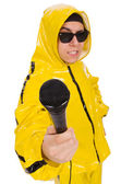 Funny performer with mic isolated on the white — Stock Photo