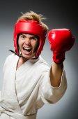 Engraçado boxer no conceito de desporto — Fotografia Stock