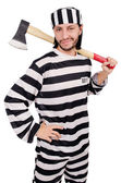 Prison inmate with axe — Stock Photo