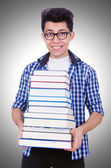 Student with lots of books — Stock Photo